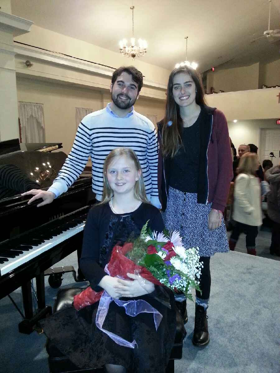 Violin instructor Kate W. , Piano Instructor Chris F, and violin student Jane C.