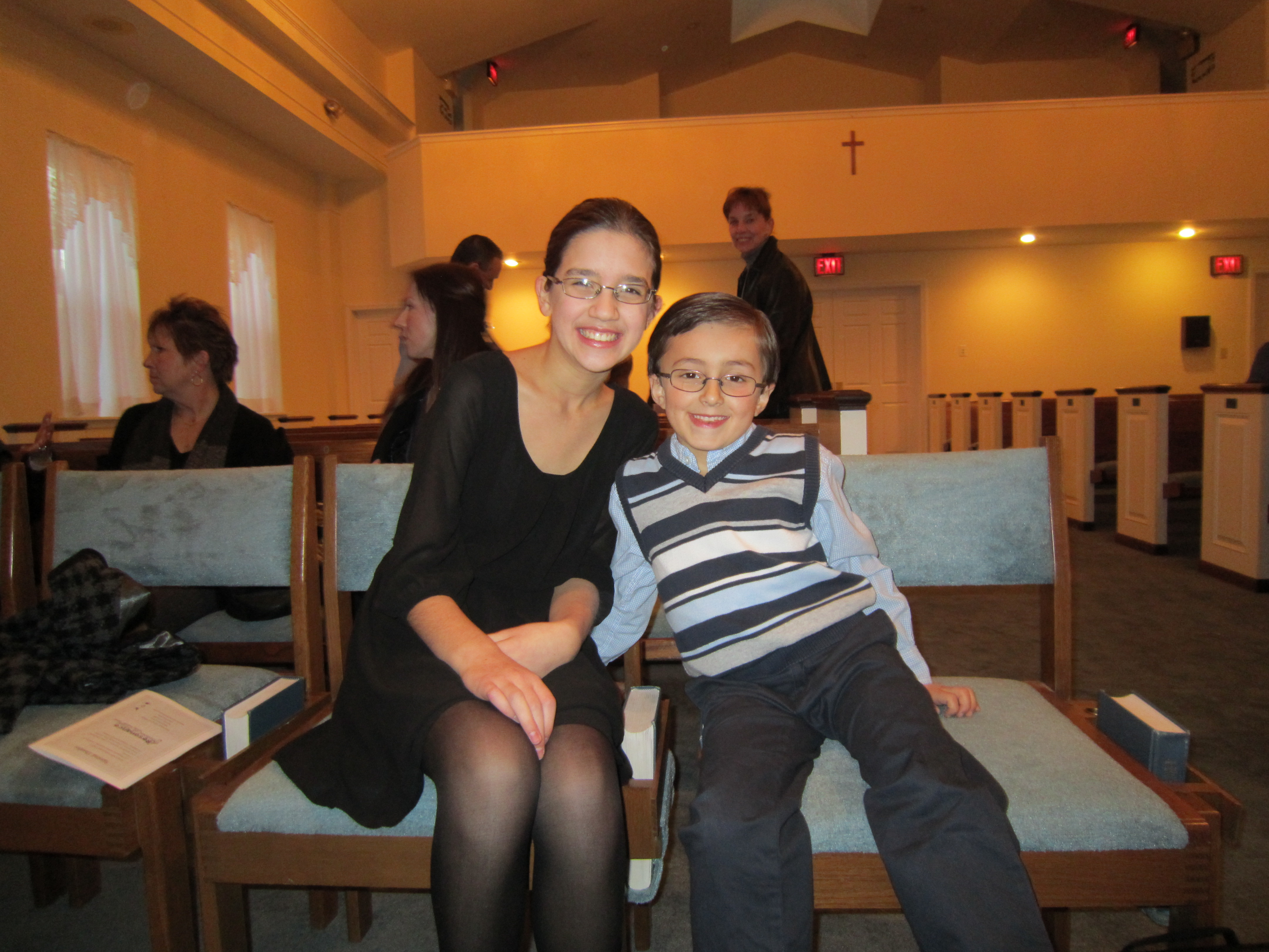 Piano students Sophie A. and Christian M. during the 5pm recitals!