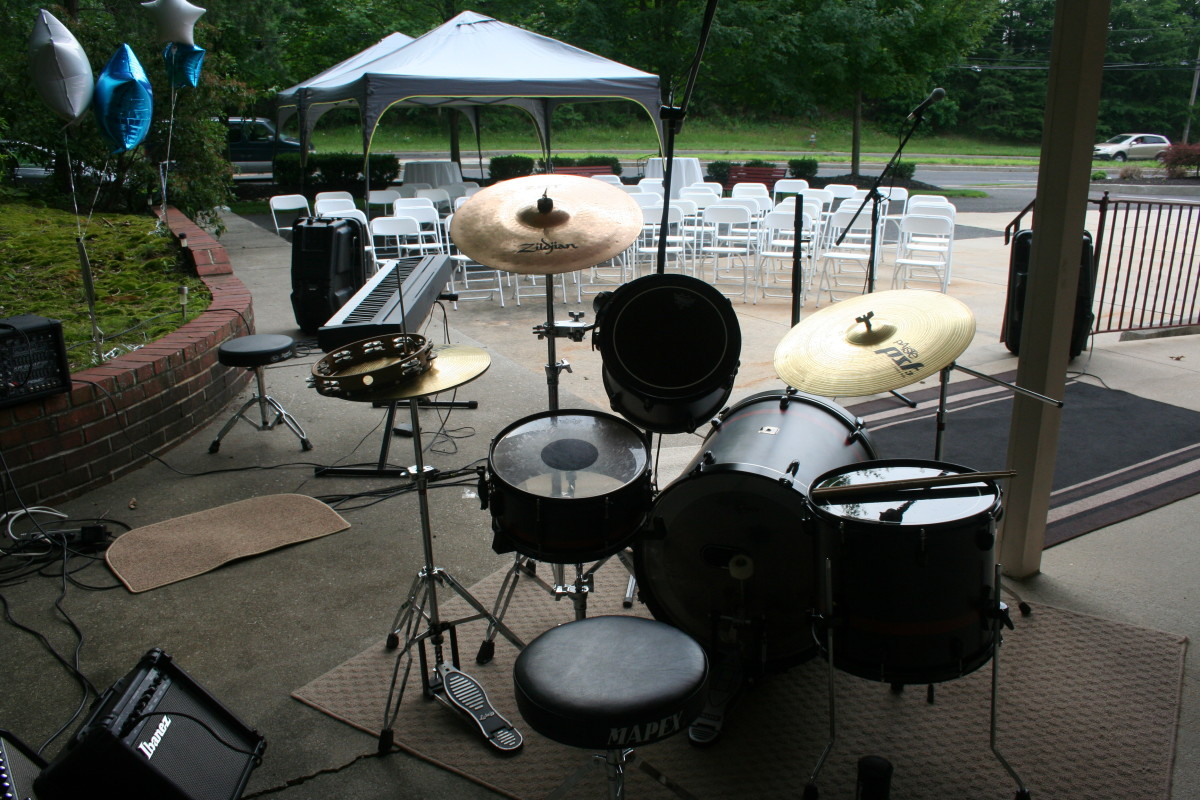 Drum Set ready to go for our BBQ